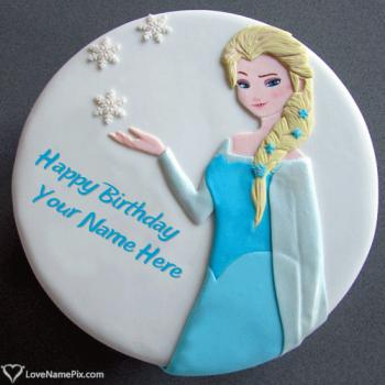 Write name on Princess Elsa Birthday Cake For Girls photo