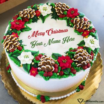Printable Merry Christmas Wishes Cake Free With Name