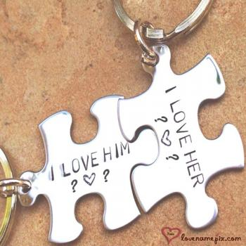 Write name on Puzzle Key Chain Letters love images