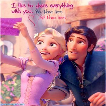 Write name on Rapunzel And Flynn Cute love images