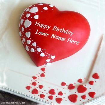 Write Name On Red Heart Lovers Birthday cake