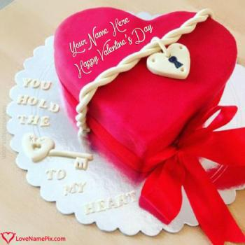 Write name on Red Heart Valentines Cake love images