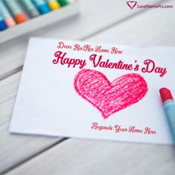 Write name on Red Heart Valentines Day Greetings love images