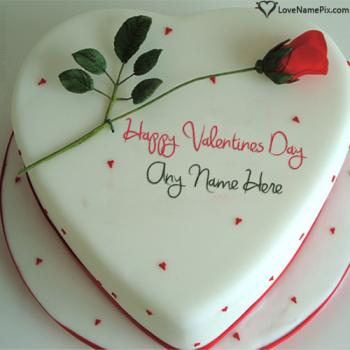 Red Rose On Happy Valentine Cake Images With Name
