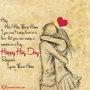 Romantic Couple Happy Hug Day Name Picture