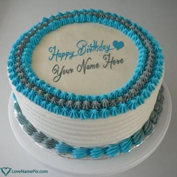 Romantic Happy Birthday Cake For Husband With Name
