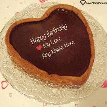 Romantic Heart Birthday Cake For Lovers With Name