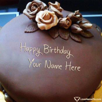 Write Name On Roses Chocolate Happy Birthday Cake