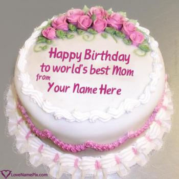 Roses Decorated Birthday Cake For Mom With Name