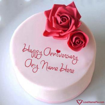 Roses Love Anniversary Cake For Wife With Name