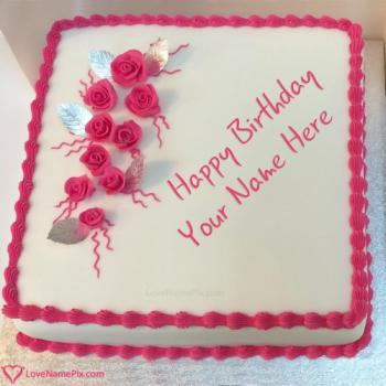 Roses Romantic Birthday Cake For Girlfriend With Name
