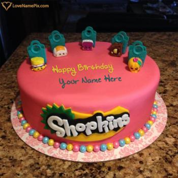 Write name on Shopkins Kids Birthday Cake Designs photo