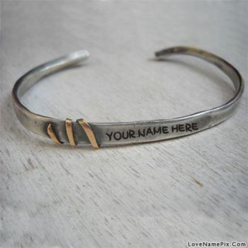 Write name on Silver Mens Cuff Bracelet images