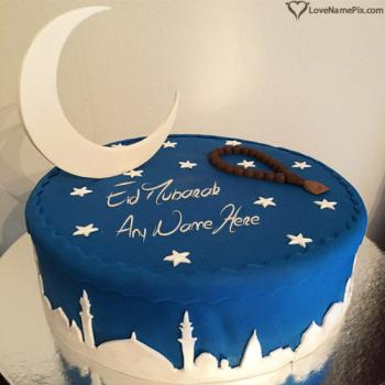 Stars Moon Best Eid Mubarak Cake With Name