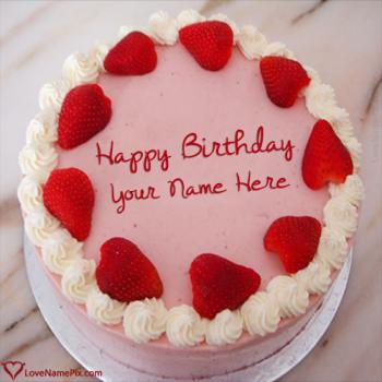 Strawberry Virtual Birthday Cake Maker With Name