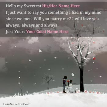 Sweet Romantic Propose Name Picture