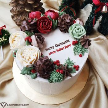Traditional Merry Christmas Wishes Cake With Name
