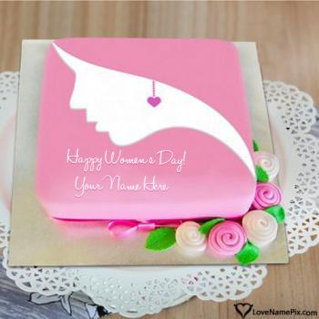 Unique Design Womens Day Cake With Name