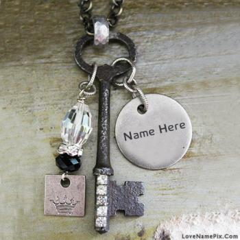 Write name on Vintage Key Pendant images