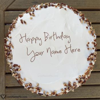 Walnuts Decorated Cream Birthday Cake With Name