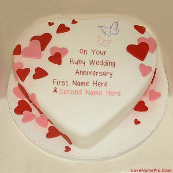 Write Name On Wedding Anniversary Couple Cake