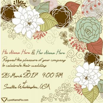 Write couple name on Wedding Invitation Cards Designs