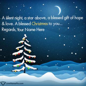 Winter Snow Fall Christmas Night With Name