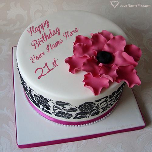 21st Birthday Cake Photo And Edit Name Generator
