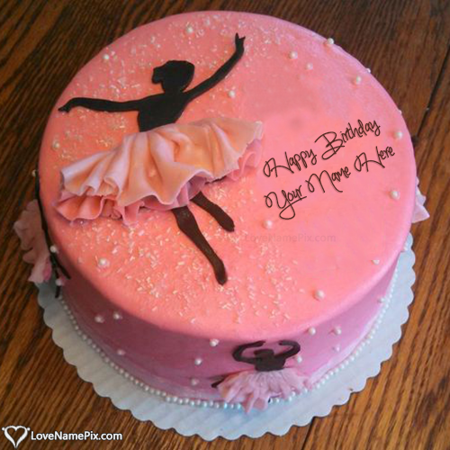 Ballerina Silhouette Cake For Birthday Girl With Name Edit