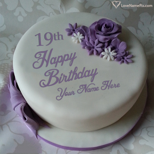 Create Beautiful Violet Rose 19th Birthday Cake With Name and Photo