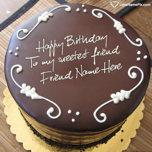 Create Best Chocolate Birthday Cake For Friend With Name Edit
