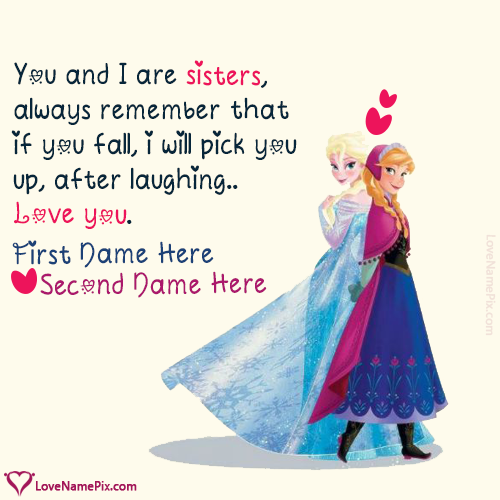 Write Name On Best Sisters Forever Quotes Picture