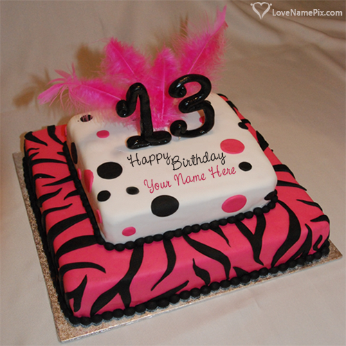Create Birthday Cakes For 13 Year Teenage Girls With Name and Photo