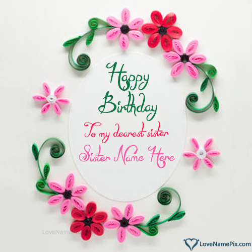 Birthday Cards Wishes With Name ~ Birthday wishes cards for sister name generator
