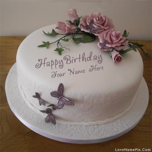 Create Butterfly Roses Birthday Cake With Name Edit