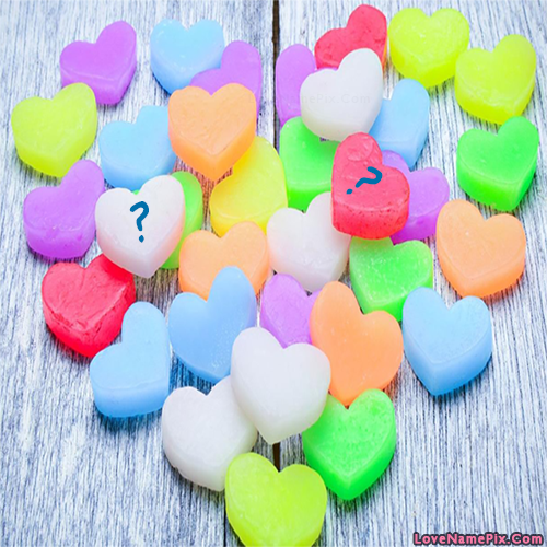 Write name on Colorful Hearts Letter love quotes