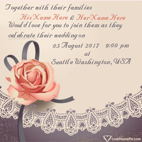 Write Name on Create Free Wedding Invitation Designs Picture