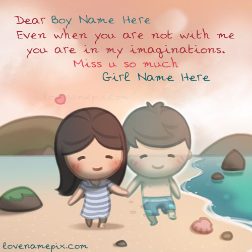 Write name on Cute Couple Girl Miss U love quotes