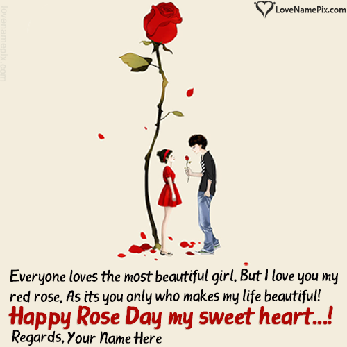 Write name on Cute Couple Happy Rose Day Greetings Card love quotes