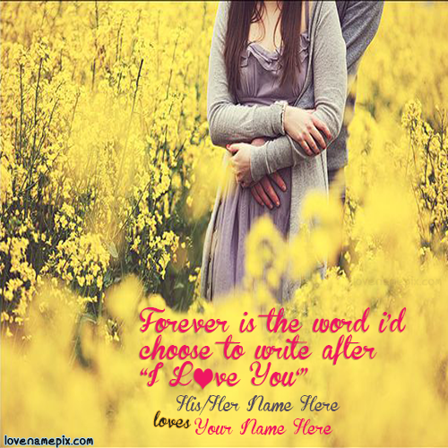 Write name on Cute Couple In Yellow Flowers love quotes
