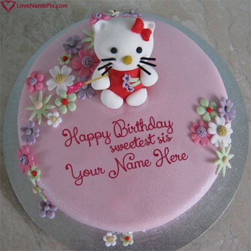 Write Name On Cute Hello Kitty Sister Birthday Cake Picture