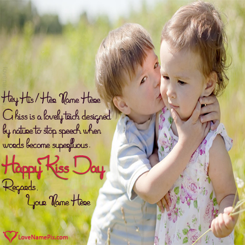 Write name on Cute Kiss Day Quotes love quotes