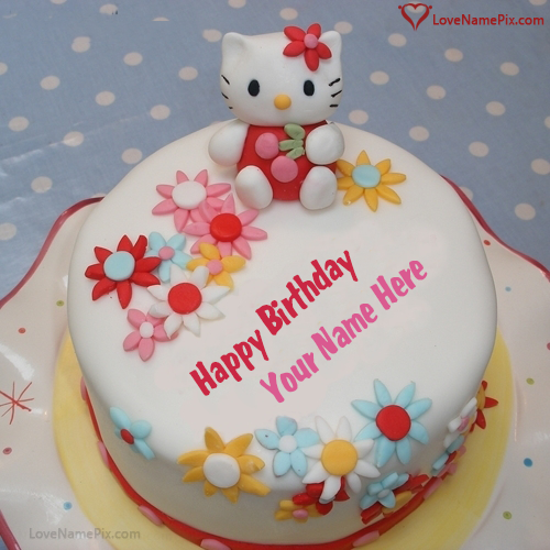 Write Name On Cute Kitty Birthday Cake For Girls Picture