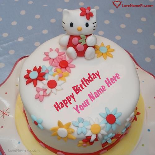 Cute Kitty Birthday Cake For Girls Name Generator