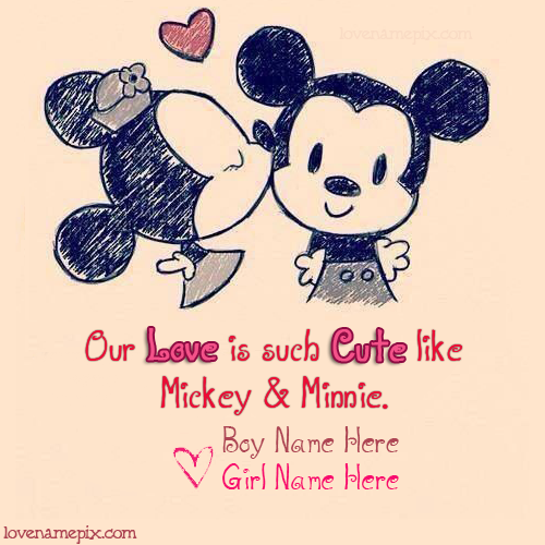 Write Name On Cute Mickey Minnie Picture
