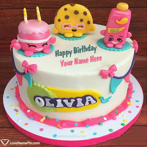 Create Cute Shopkins Kitty Birthday Cake With Name and Photo