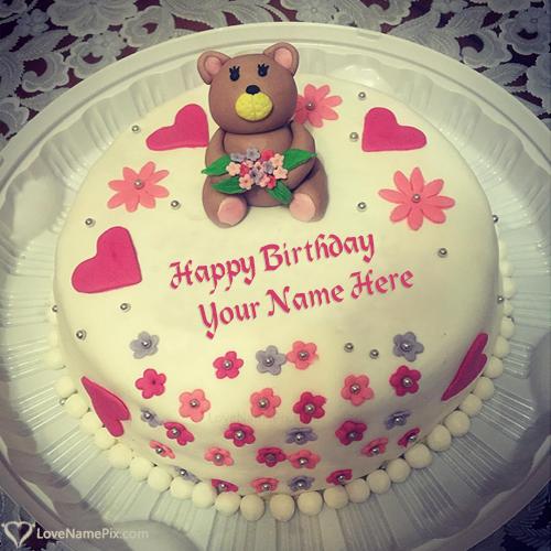 Teddy Bear Birthday Cake With Name Edit