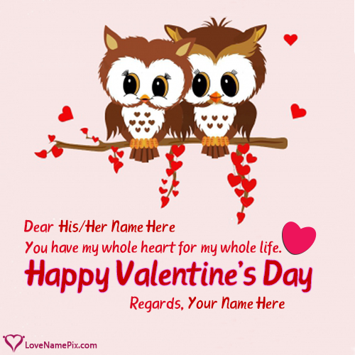 Cute Valentine Couple Wishes With Name Editing