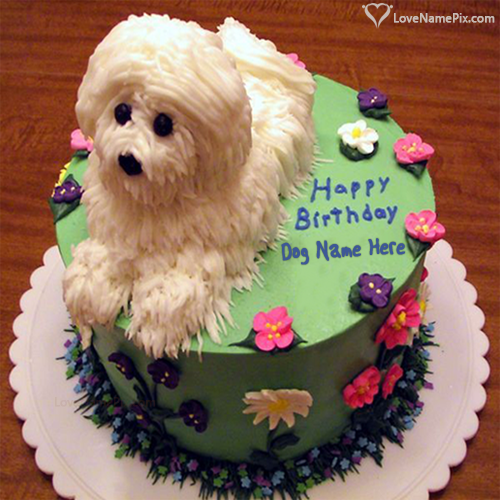 Write Name On Cute White Dog Birthday Cake Picture