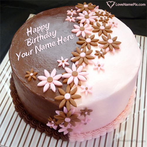 Love Cake Images With Name Editor : Happy birthday cake with name edit option